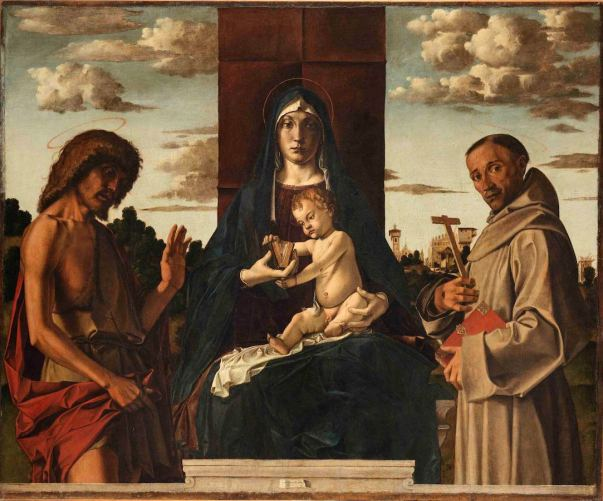 Bartolomeo Montagna, Madonna col Bambino e i santi Giovanni Battista e Francesco, 1485 ca
