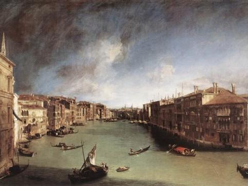 Canaletto, Il Canal Grande da Ca' Balbi verso Rialto, 1720-1723, Venezia, Ca' Rezzonico, Museo del Settecento Veneziano.